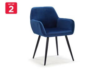 Ovela Set of 2 Paige Velvet Dining Chairs (Navy)