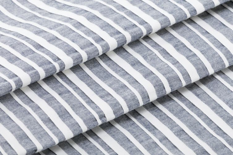 Ovela 100% Cotton Pintuck Stripes Quilt Cover Set (Queen, Denim)