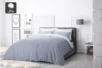 Ovela 100% Cotton Stripes Quilt Cover Set (Denim)