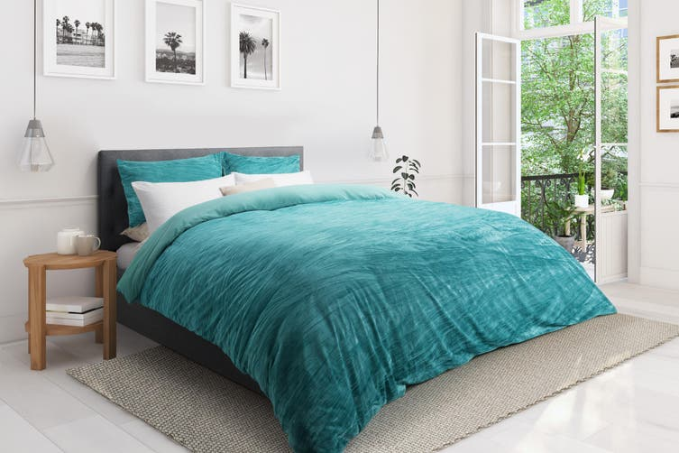 Ovela Velvet Quilt Cover Set (Queen, Aqua)