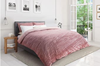 Ovela Crinkle Velvet Quilt Cover Set (Queen, Blush)