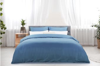 Ovela Silky Touch Microfibre Striped Quilt Cover Set (Queen, Ocean)