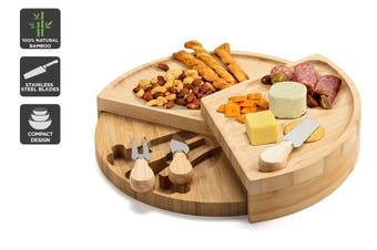 Ovela Round Bamboo Cheese Board Set