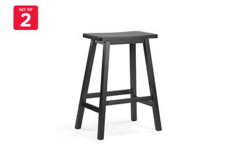 Ovela Set of 2 Saldford Kitchen Bench Saddle Stool Set (Black)