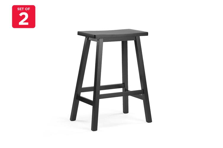 Ovela Set of 2 Saldford Kitchen Bench Saddle Stool Set (Black)