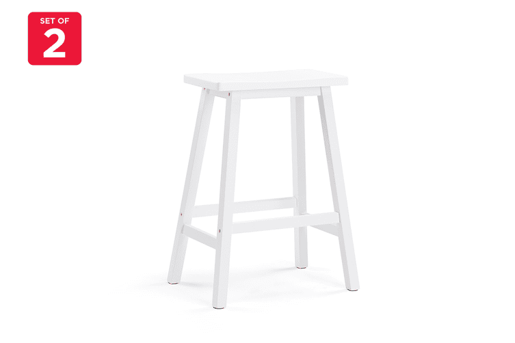 Ovela Set of 2 Saldford Kitchen Bench Saddle Stool Set (White)
