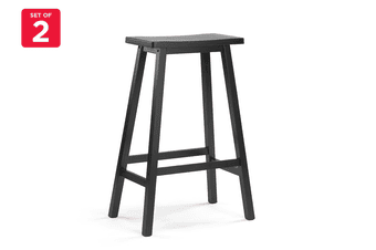 Ovela Set of 2 Saldford Bar Stool Set (Black)