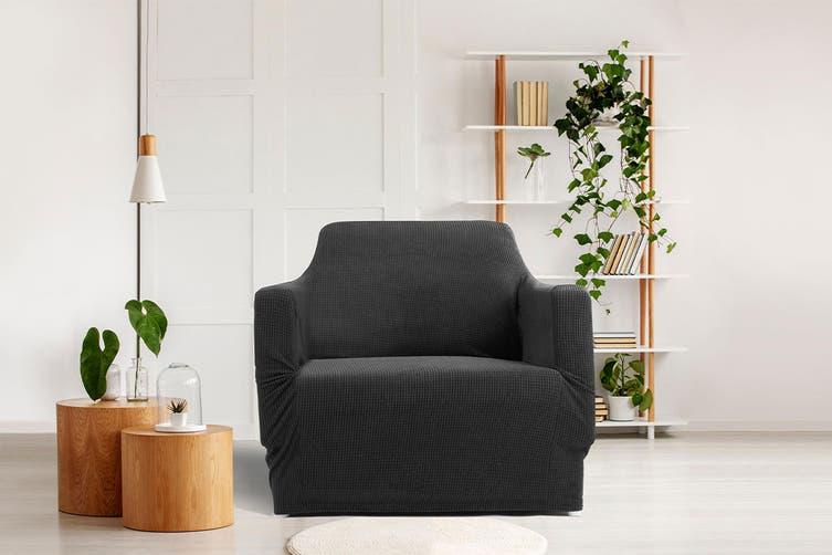 Ovela 1 Seater Sofa Cover Waffle (Black)