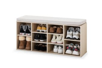 Ovela Shoe Cabinet with Sitting Bench (Natural & Grey)