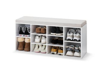 Ovela Shoe Cabinet with Sitting Bench (White & Grey)