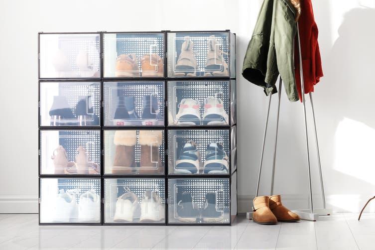Ovela Set of 12 Click Shoe Box (Large, Clear/Black)