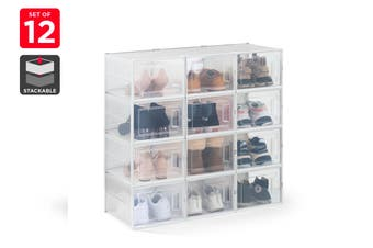 Ovela Set of 12 Click Shoe Box (Large, Clear/White)