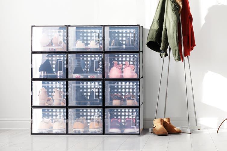 Ovela Set of 12 Click Shoe Box (Medium, Clear/Black)