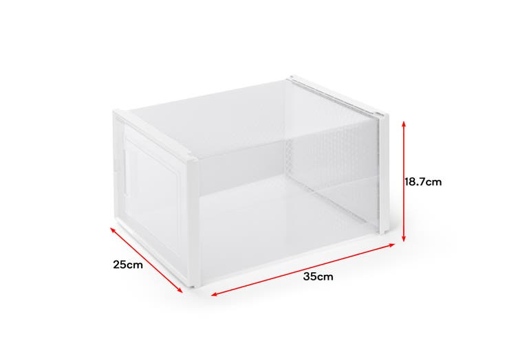Ovela Set of 12 Click Shoe Box (Medium, Clear/White)