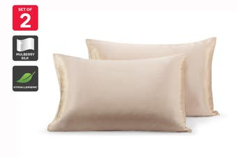 Ovela Set of 2 Mulberry Silk Pillowcases (Champagne)