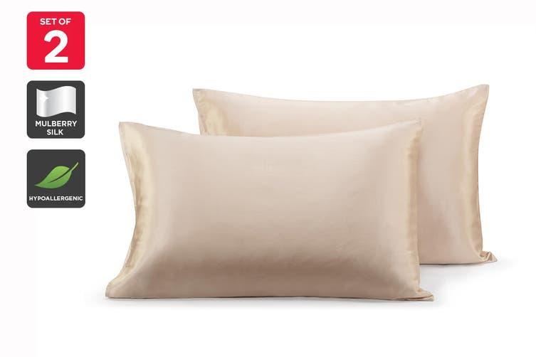 Ovela Set of 2 Mulberry Silk Pillowcases (Champagne)