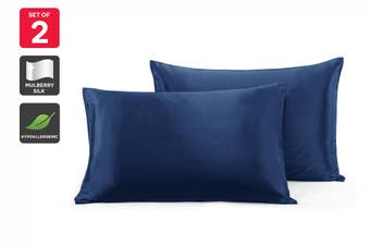 Ovela Set of 2 Mulberry Silk Pillowcases (Navy)