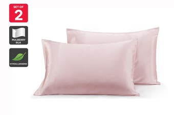 Ovela Set of 2 Mulberry Silk Pillowcases (Pink)