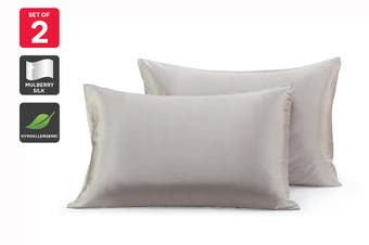 Ovela Set of 2 Mulberry Silk Pillowcases (Silver)