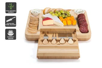 Ovela Bamboo Cheese Board with Cheese Knives