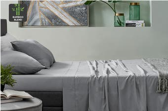 Ovela Bamboo Blend Bed Sheet Set (Double, Grey)