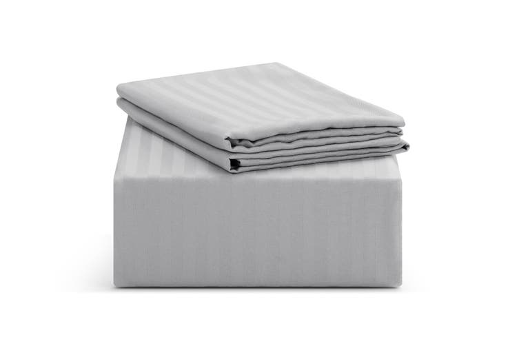 Ovela Silky Touch Microfibre Striped Bed Sheet Set (Double, Grey)