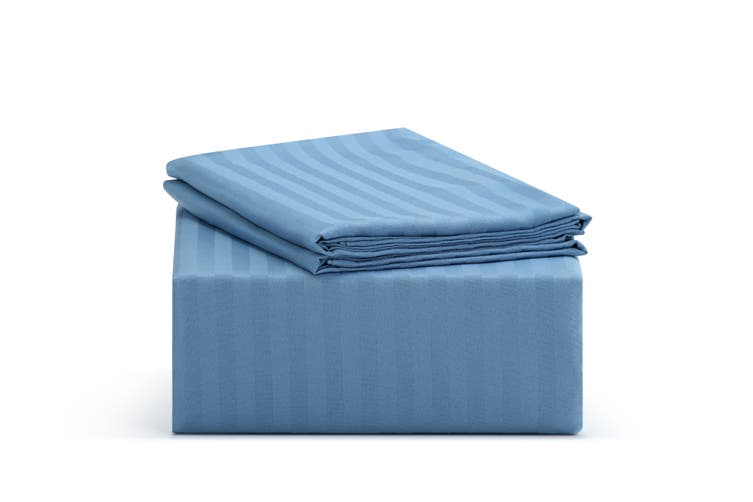 Ovela Silky Touch Microfibre Striped Bed Sheet Set (Single, Ocean)
