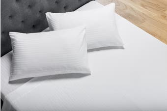 Ovela Silky Touch Microfibre Striped Bed Sheet Set (Double, White)