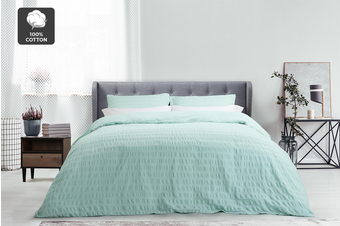 Ovela 100% Cotton Seersucker Quilt Cover Set (Queen, Duck Egg Blue)