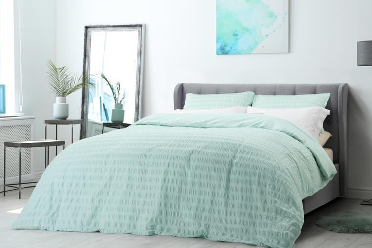 Ovela 100% Cotton Seersucker Quilt Cover Set (King, Duck Egg Blue)