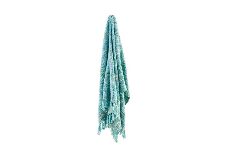 Ovela Oslo Knitted Throw (Cool Pool)
