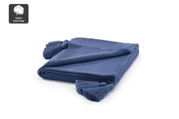 Ovela Knitted Throw with Tassels (Navy)