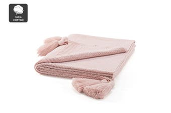 Ovela Knitted Throw with Tassels (Pink)