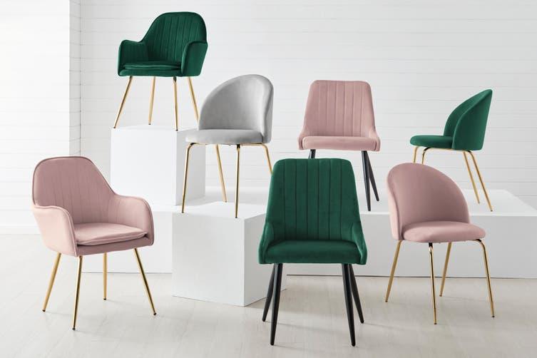 Ovela Set of 2 Armadale Velvet Armchairs (Blush)