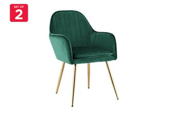 Ovela Set of 2 Armadale Velvet Armchairs (Emerald)