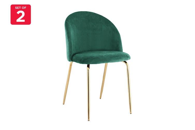 Ovela Set of 2 Subiaco Velvet Dining Chairs (Emerald)