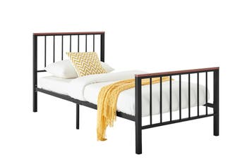 Ovela Wakefield Wood and Metal Bed (Single, Black)