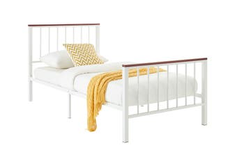 Ovela Wakefield Wood and Metal Bed (Single, White)