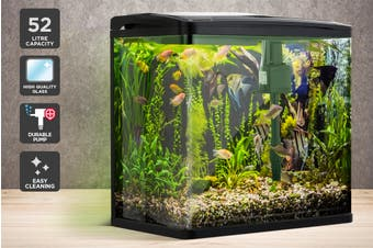 Pawever Pets Curved Glass LED Aquarium Fish Tank 52L