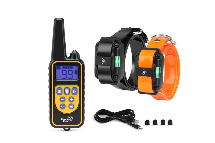 Pawever Pets Rechargeable Anti Bark Dog Training Collar - One Remote + Two Receiver Collars
