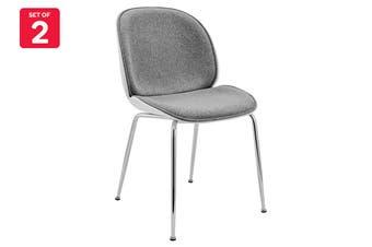 Shangri-La Set of 2 Lester Dining Chairs - Chrome Legs (White/Light Grey)