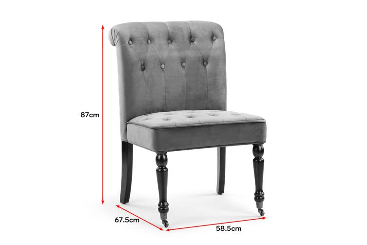Shangri-La Enfield Velvet Accent Chair with Rollers (Charcoal)