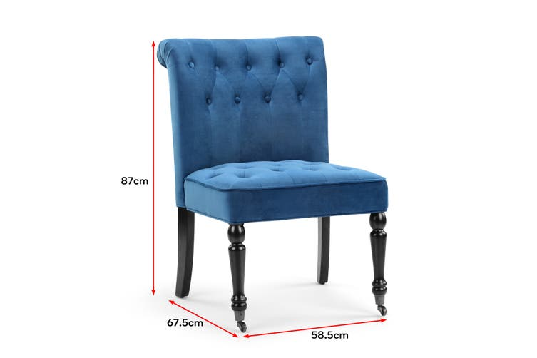Shangri-La Enfield Velvet Accent Chair with Rollers (Navy)