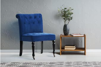 Shangri-La Enfield Velvet Accent Chair with Roller (Navy)