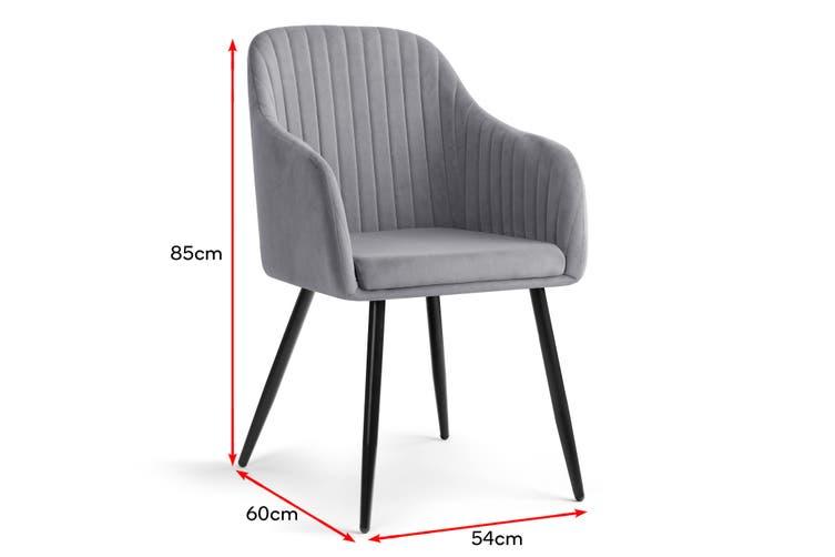 Shangri-La Set of 2 Alivia Dining Armchair Chair (Charcoal)