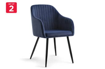 Shangri-La Set of 2 Alivia Dining Armchair Chair (Navy)