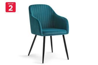 Shangri-La Set of 2 Alivia Dining Armchair Chair (Teal)