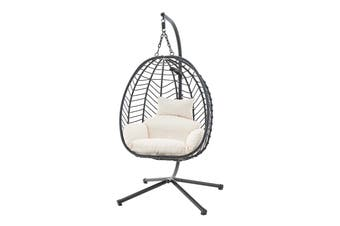 Shangri-La Mackenzie Outdoor Furniture Egg Chair (Black, Beige)
