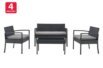 Shangri-La Sandgate 4 Piece Outdoor Furniture Lounge Set (Grey, Grey)