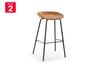Shangri-La Set of 2 Emerson Premium PU Bar Stools (Tan)